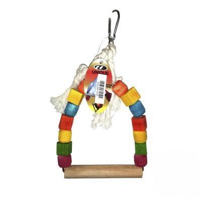 تاب چوبی همراه با حلقه های رنگی چوبی پرندگان
