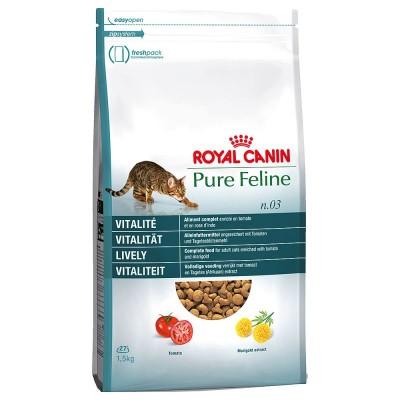 خشک گربه برای شادابی و سرزندگی برند رویال کنین royal canin pure feline no3 lively vitality