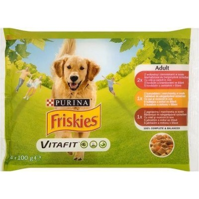 پوچ ژلاتینی سگ حاوی گوشت و بره و مرغ برند فریسکیز 100x4