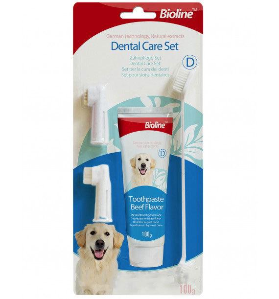 ست مسواک و خمیر دندان مناسب سگ برند بیولاین