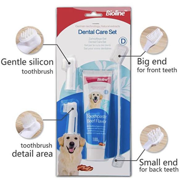ست مسواک و خمیر دندان مناسب سگ با طعم گوشت برند بیولاین