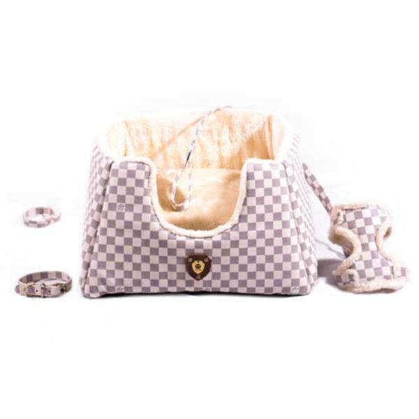 ست لاکچری 6 تکه جای خواب، کیف حمل و قلاده مناسب سگ مدل شطرنجی برند مدکاو
