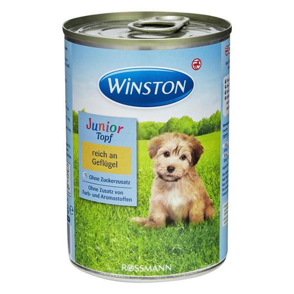 کنسرو مناسب سگ جوان با طعم مرغ برند وینستون 400 گرمی