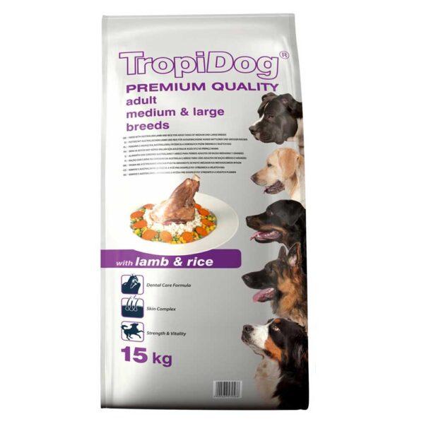 غذای خشک مناسب سگ بالغ با طعم گوشت بره و برنج برند تروپی داگ