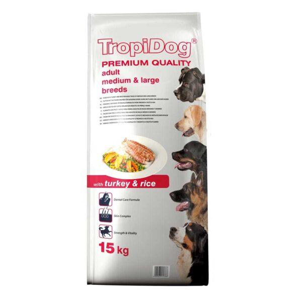 غذای خشک مناسب سگ بالغ با طعم بوقلمون و برنج برند تروپی داگ