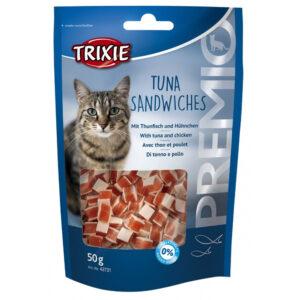 تشویقی گربه با طعم ماهی تن و مرغ برند تریکسی 50 گرمی