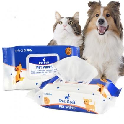 دستمال مرطوب 100 عددی مخصوص حیوانات خانگی برند پت سافت