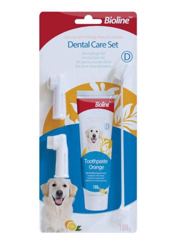 ست مسواک و خمیر دندان پرتقالی مناسب سگ برند بایولاین