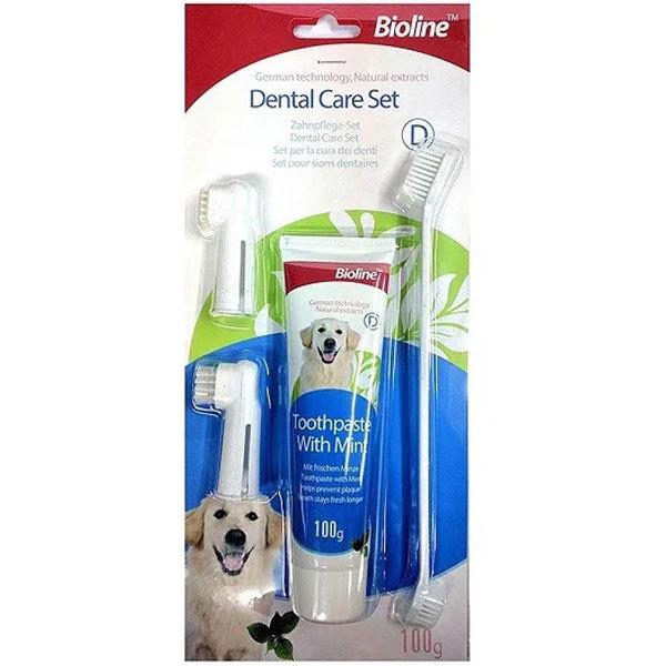 ست مسواک و خمیر دندان نعنایی مناسب سگ برند بیولاین