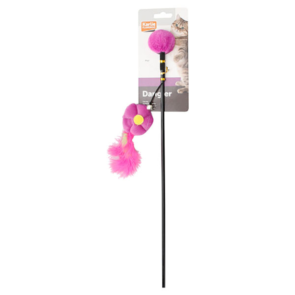 karlie flamingo cat pole toy with flower pendant