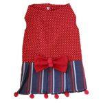 لباس قرمز پاپیون دار گربه مدل خال خالی